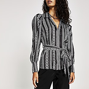 Black printed long sleeve tie belted shirt