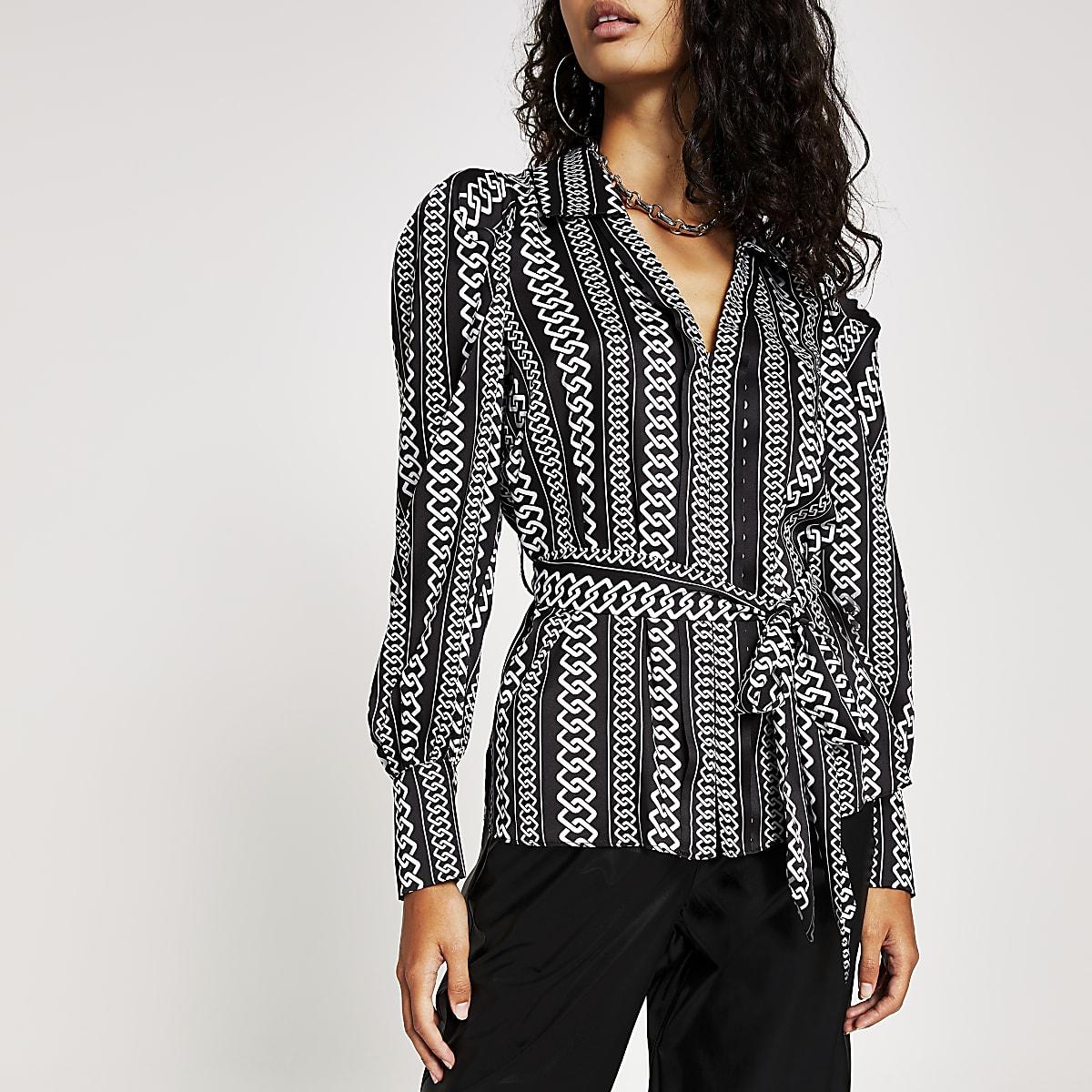 Zwart overhemd met strikceintuur, lange mouwen en print