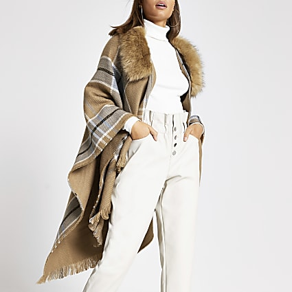 Brown check fur trim cape