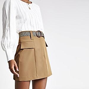Beige belted mini skirt