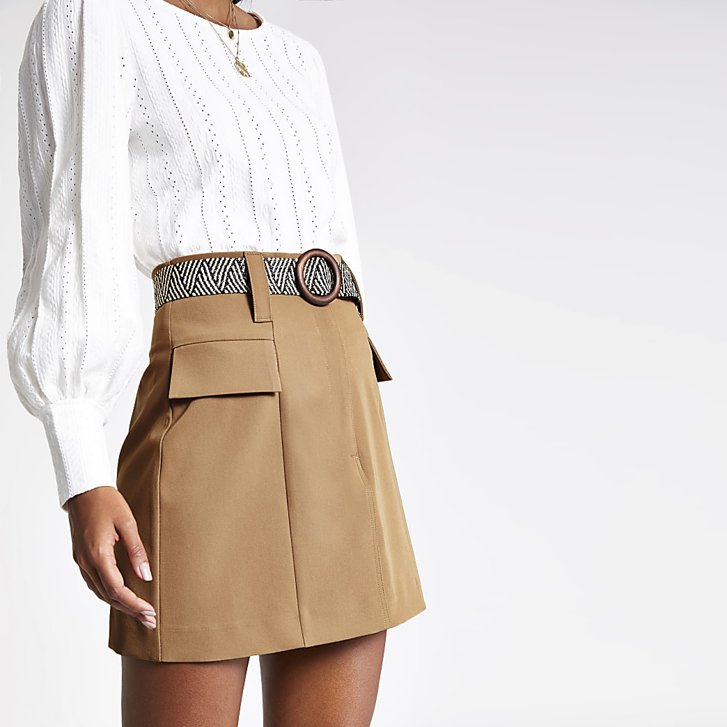Beige belted mini skirt