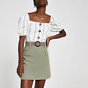 Light green utility mini skirt