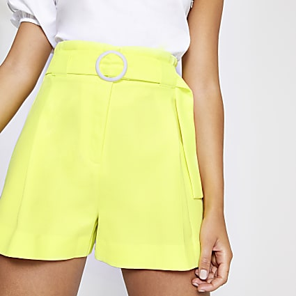 Lime belted-shorts