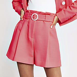 Neon coral belted shorts