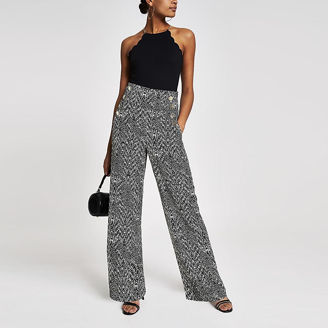 Black print button wide leg trousers