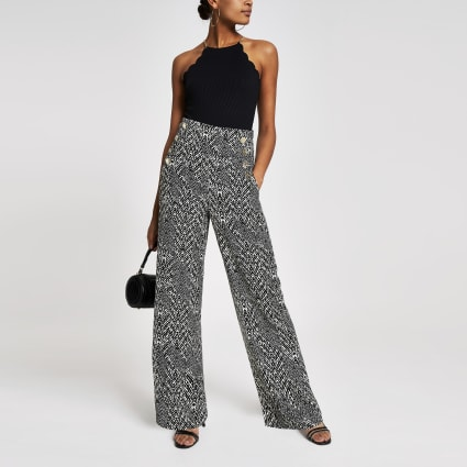 Black print button wide leg trousers