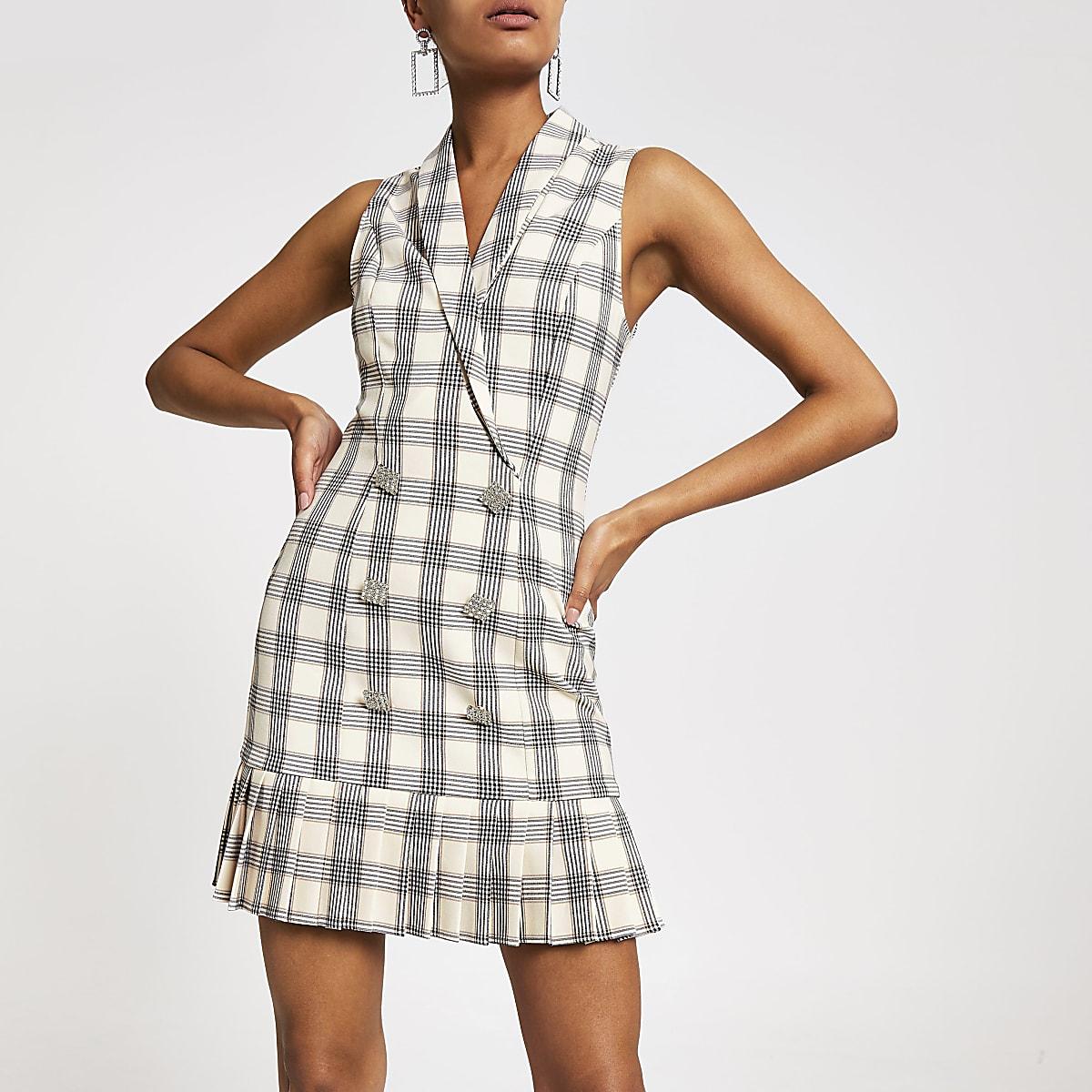 Cream check print tux dress