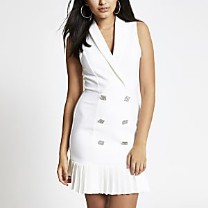 White frill hem embellished tux dress