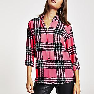 Chemise à carreaux rose fluo