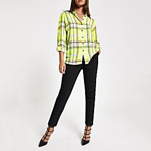 Neon yellow check shirt