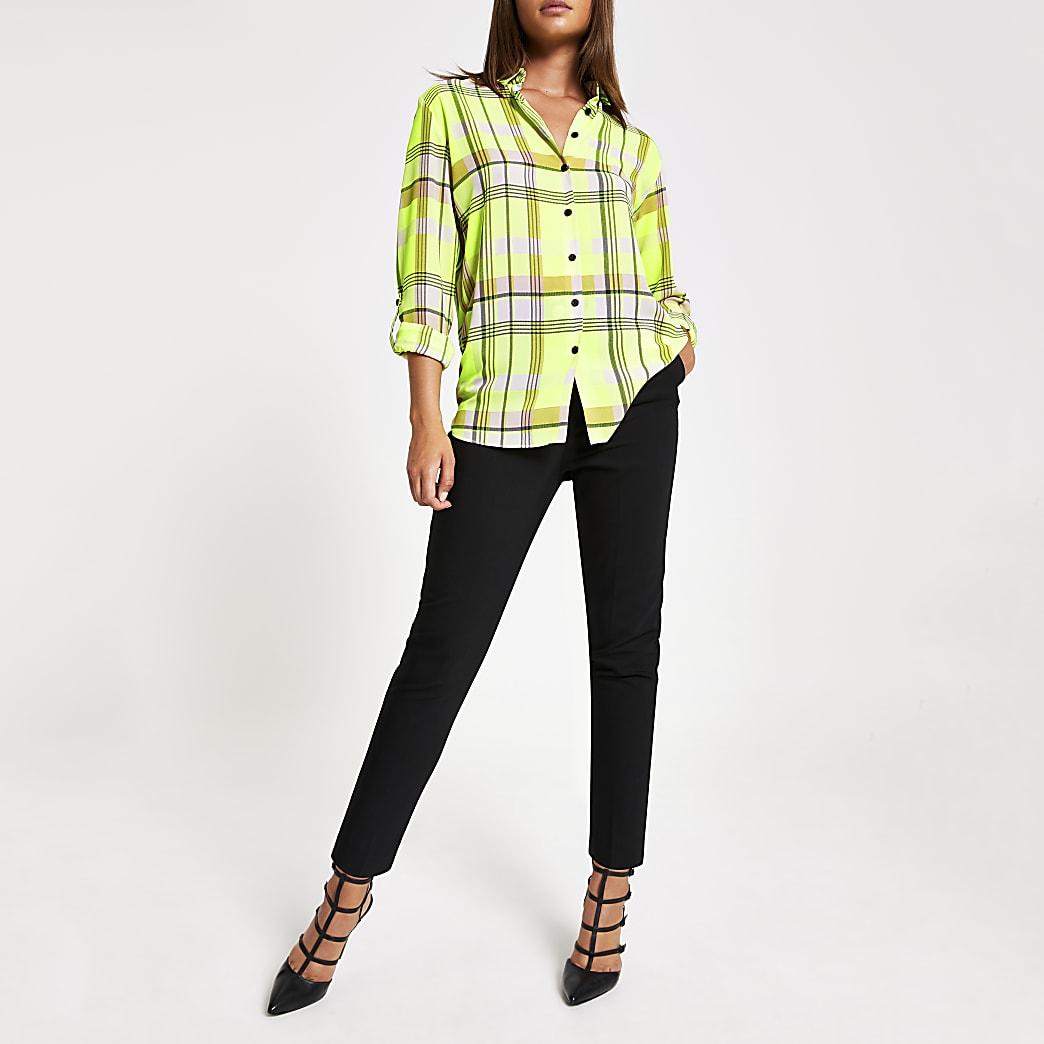 Chemise à carreaux jaune fluo