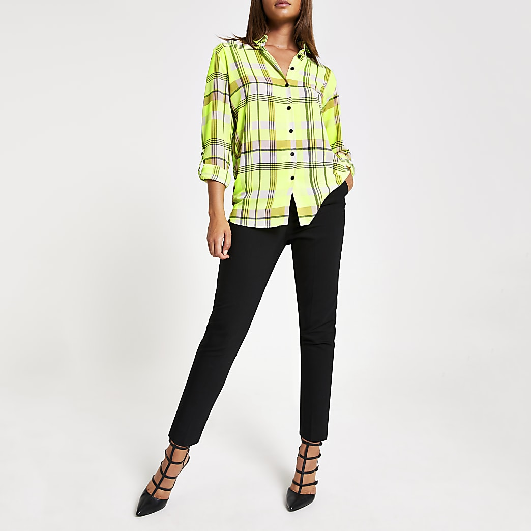 Neongeel geruit overhemd