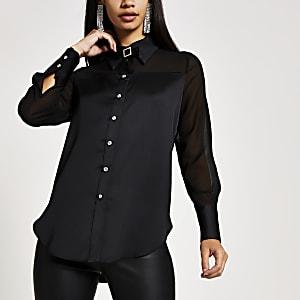 Zwart doorschijnend overhemd met lange mouwen