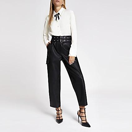 White bow embellished collar shirt
