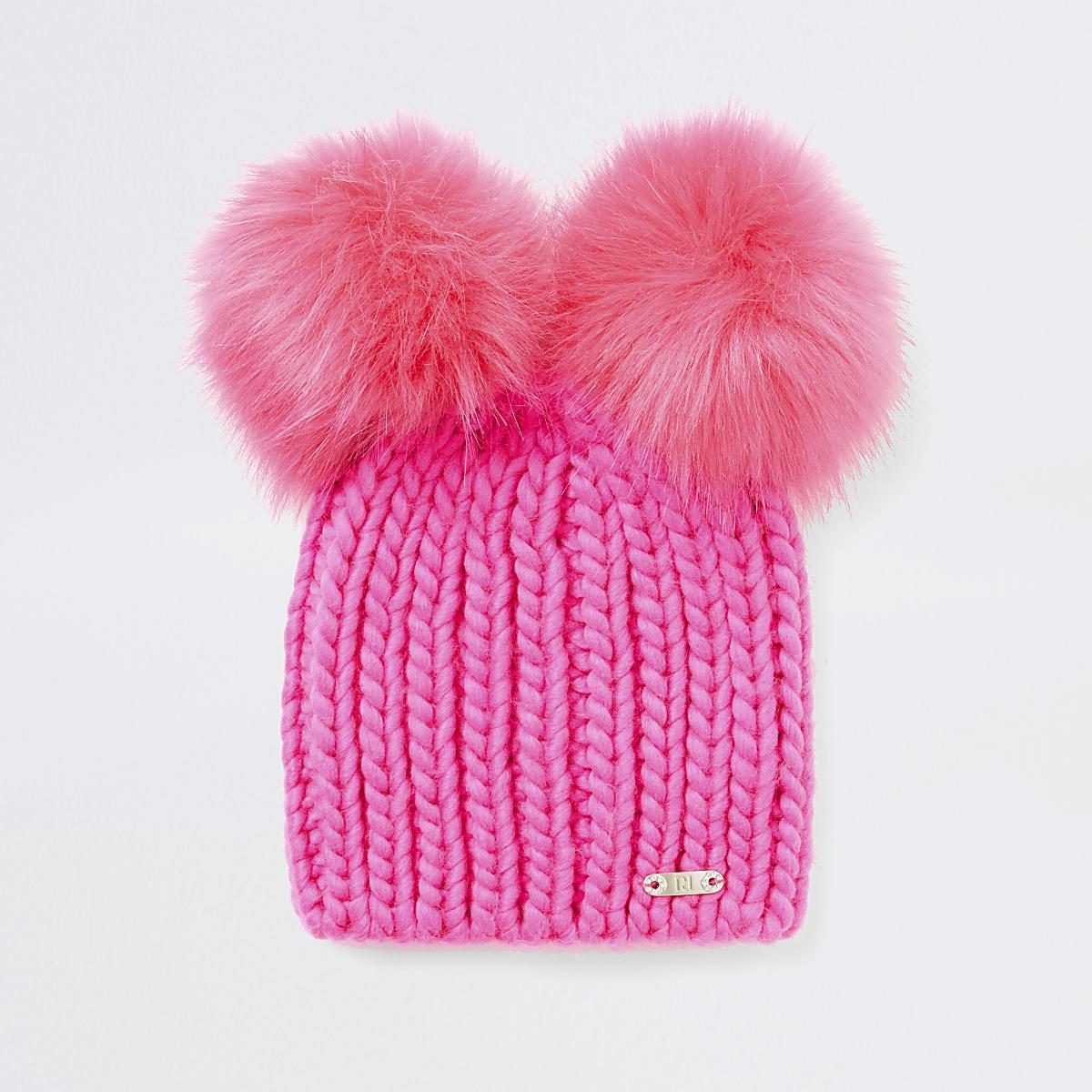 Chapeau en tricot rose vif à pompons en fausse fourrure