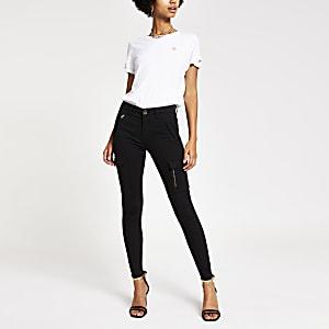 Amelie – Super Skinny Utility-Jeans in Schwarz