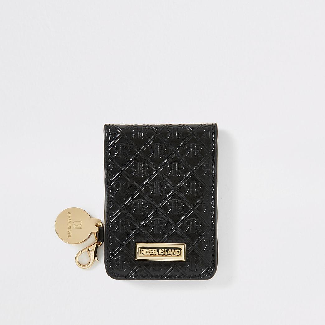 Miroir de poche pliable noir avec impriméRI en relief