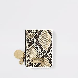 Beige snake embossed fold out pocket mirror