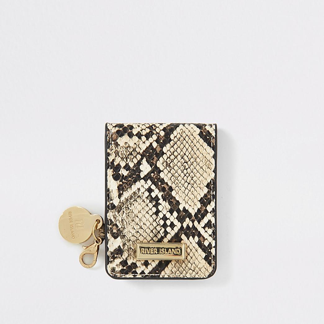 Miroir de poche pliable beige effet peau de serpent en relief
