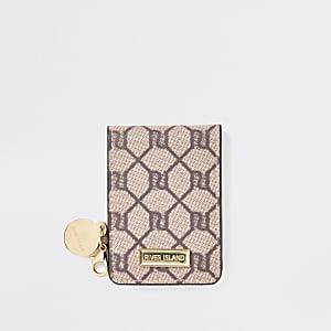 Brown RI monogram fold out pocket mirror