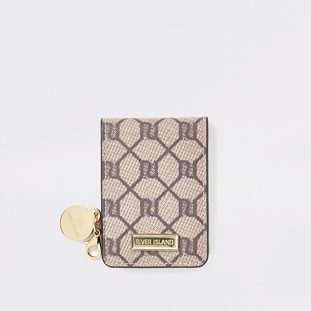 Brown RI monogram fold out pocket mirror