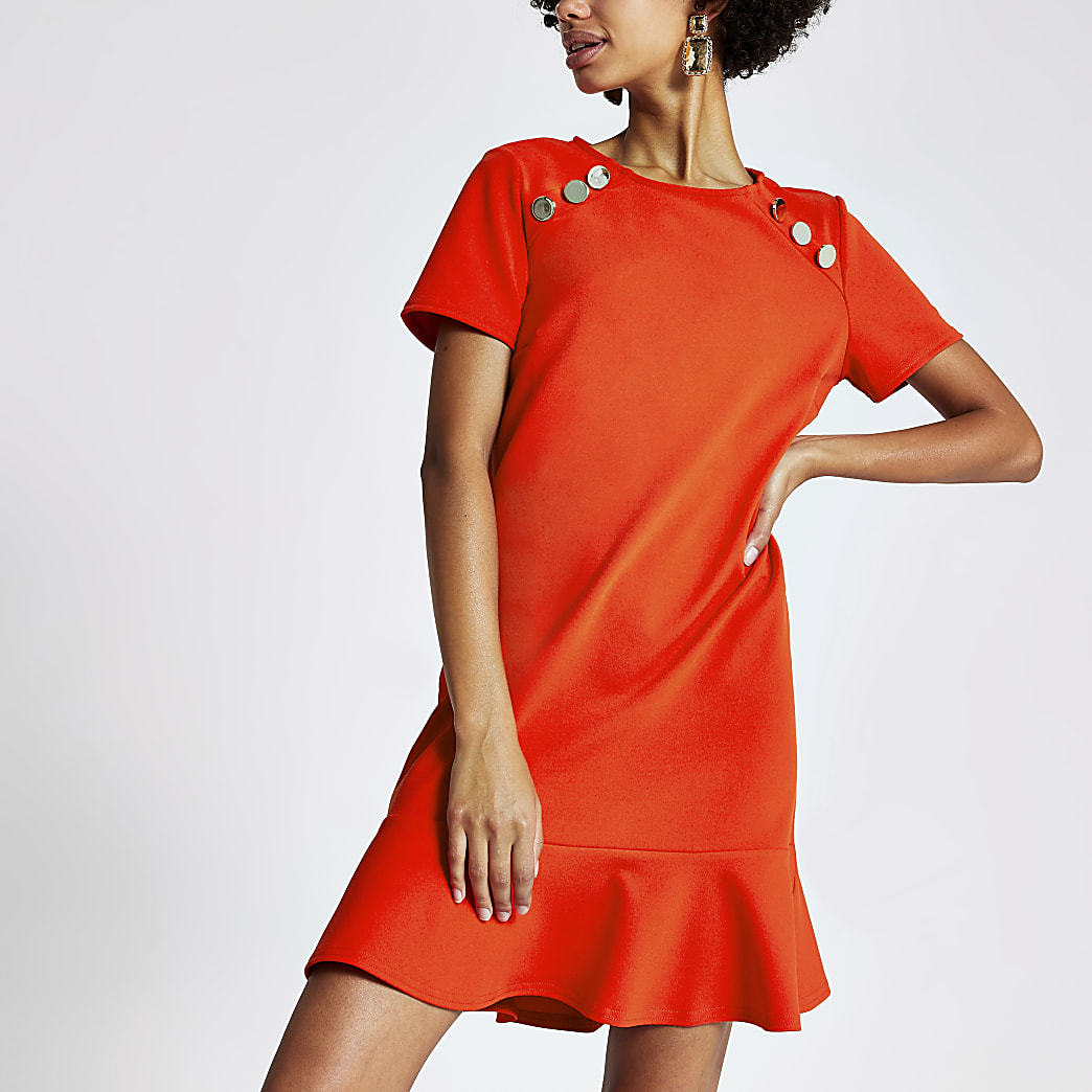 Bright red short sleeve peplum shift dress