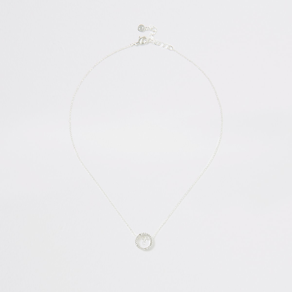 Silver colour circle jewel drop necklace