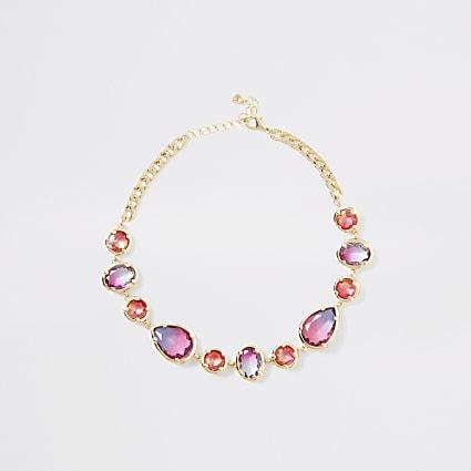 Gold colour ombre gem stone necklace