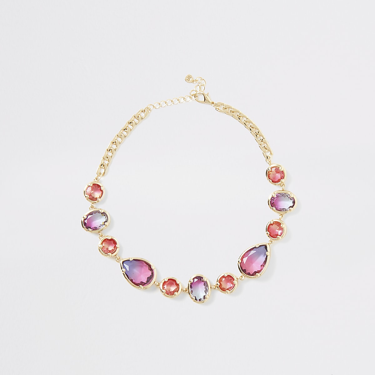 Gold colour ombre gem stone necklace