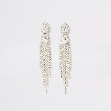 Rose gold colour teardrop diamante earring