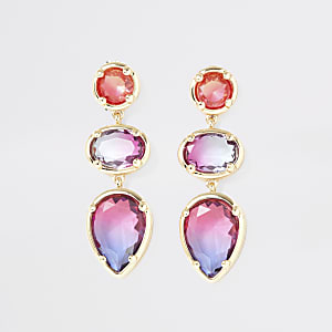 Gold colour ombre gem drop earrings