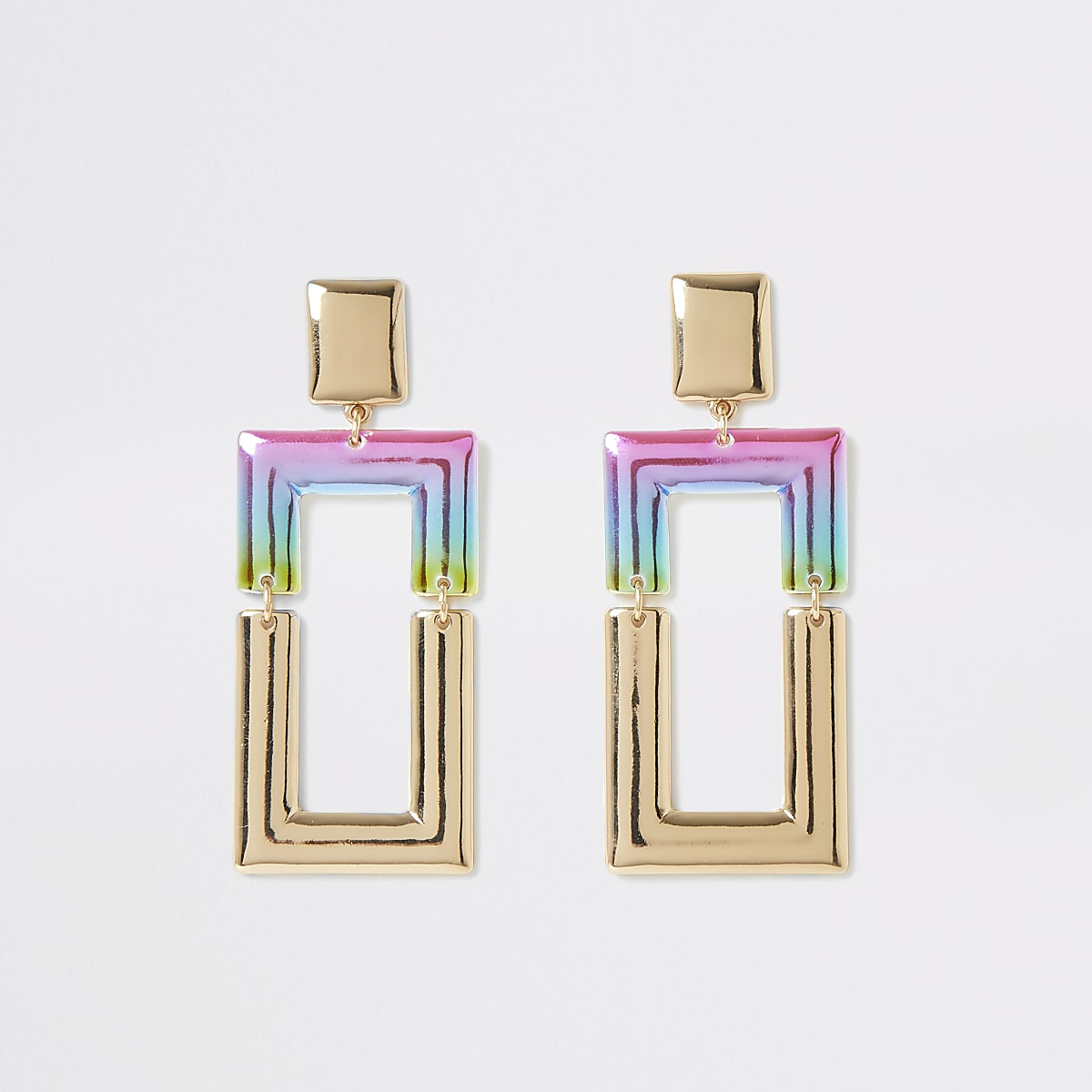 Gold colour ombre rectangle earring