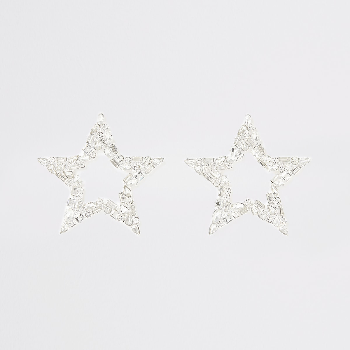 Silver colour star drop earrings