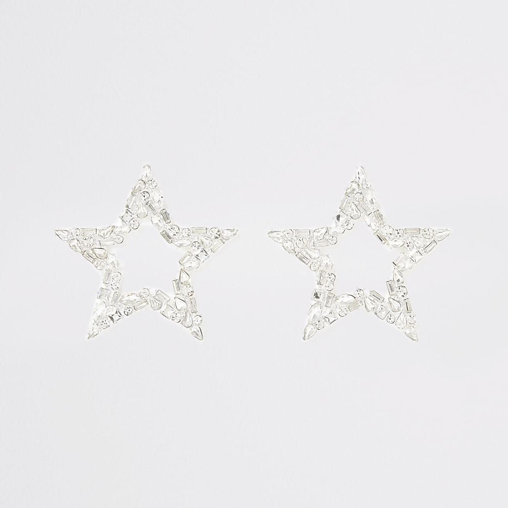 Zilverkleurige stervormige oorhangers