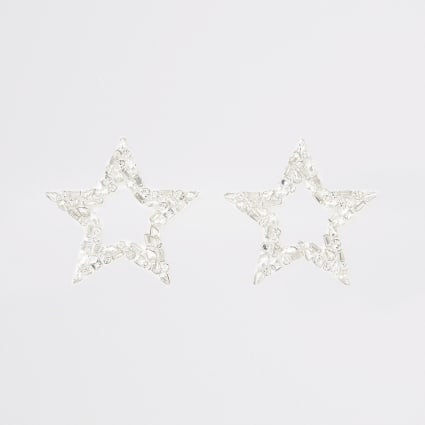 Silver colour star drop earrings
