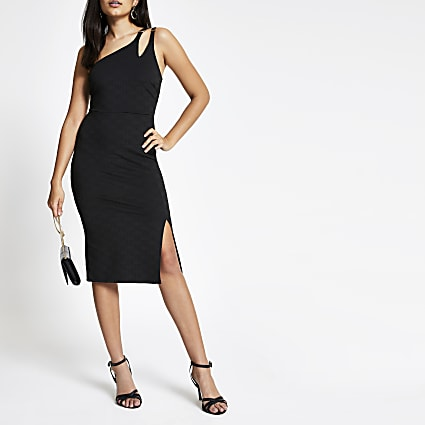 Black jacquard bodycon midi dress