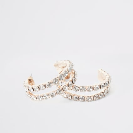 Rose gold paved double hoop earrings