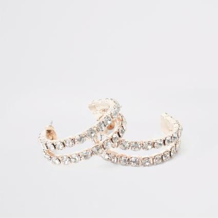 Rose gold paved double hoop earrings