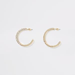 Gold colour diamante and pearl hoop earring