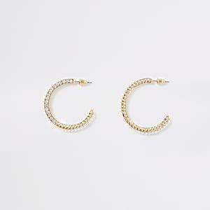 Créoles dorées ornées de strass et de perles