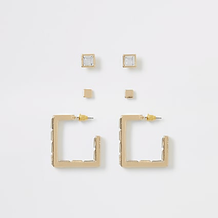Gold colour diamante earrings multipack