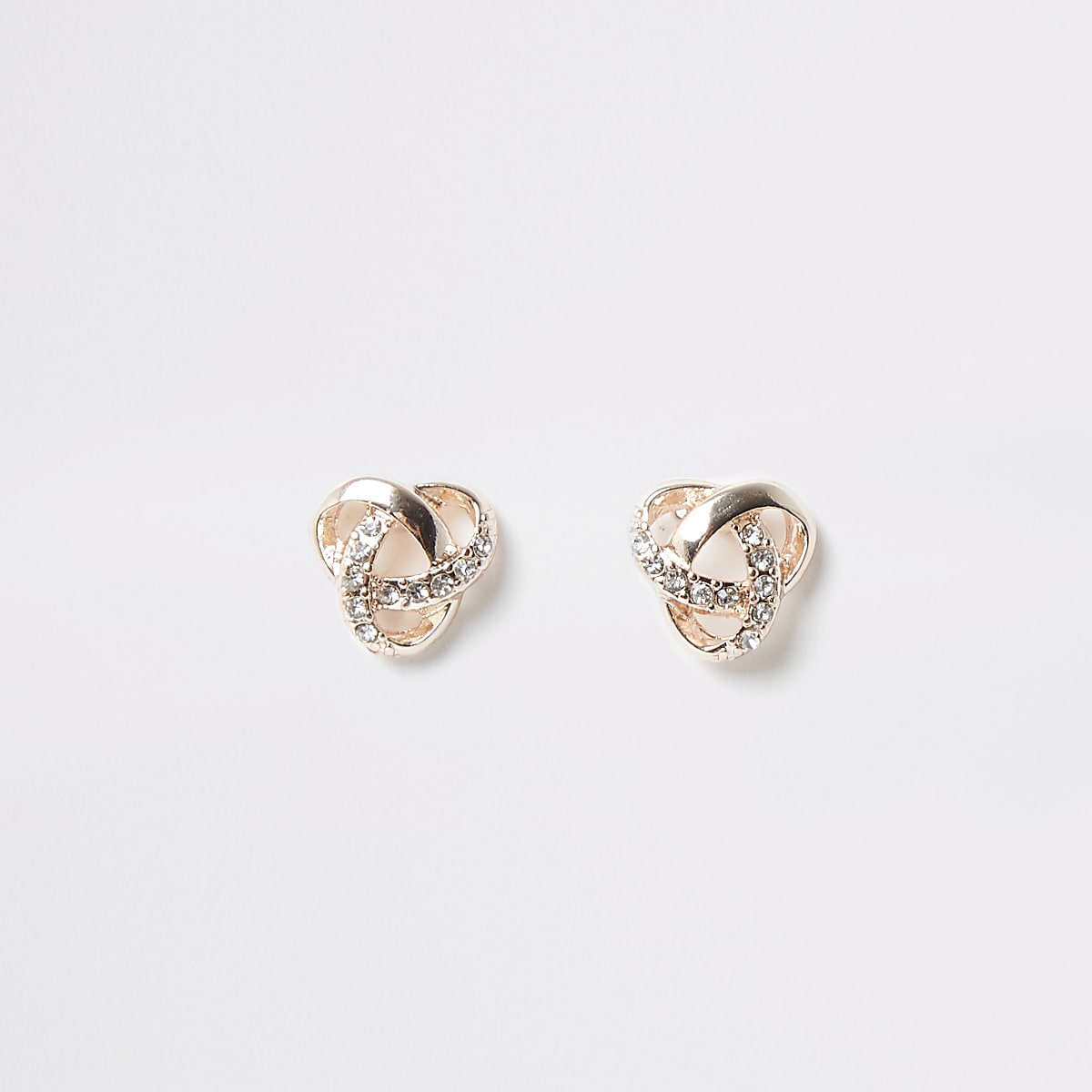 Rose gold colour diamante twist knot stud
