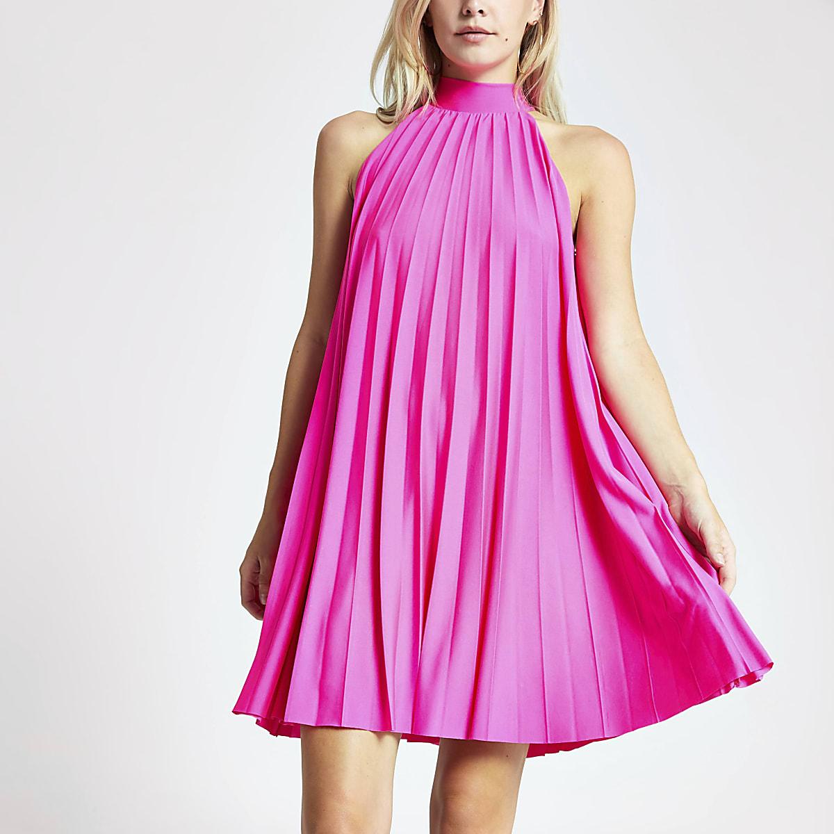 Petite pink pleated halter neck dress