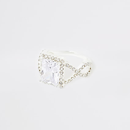 Silver colour square diamante pave ring