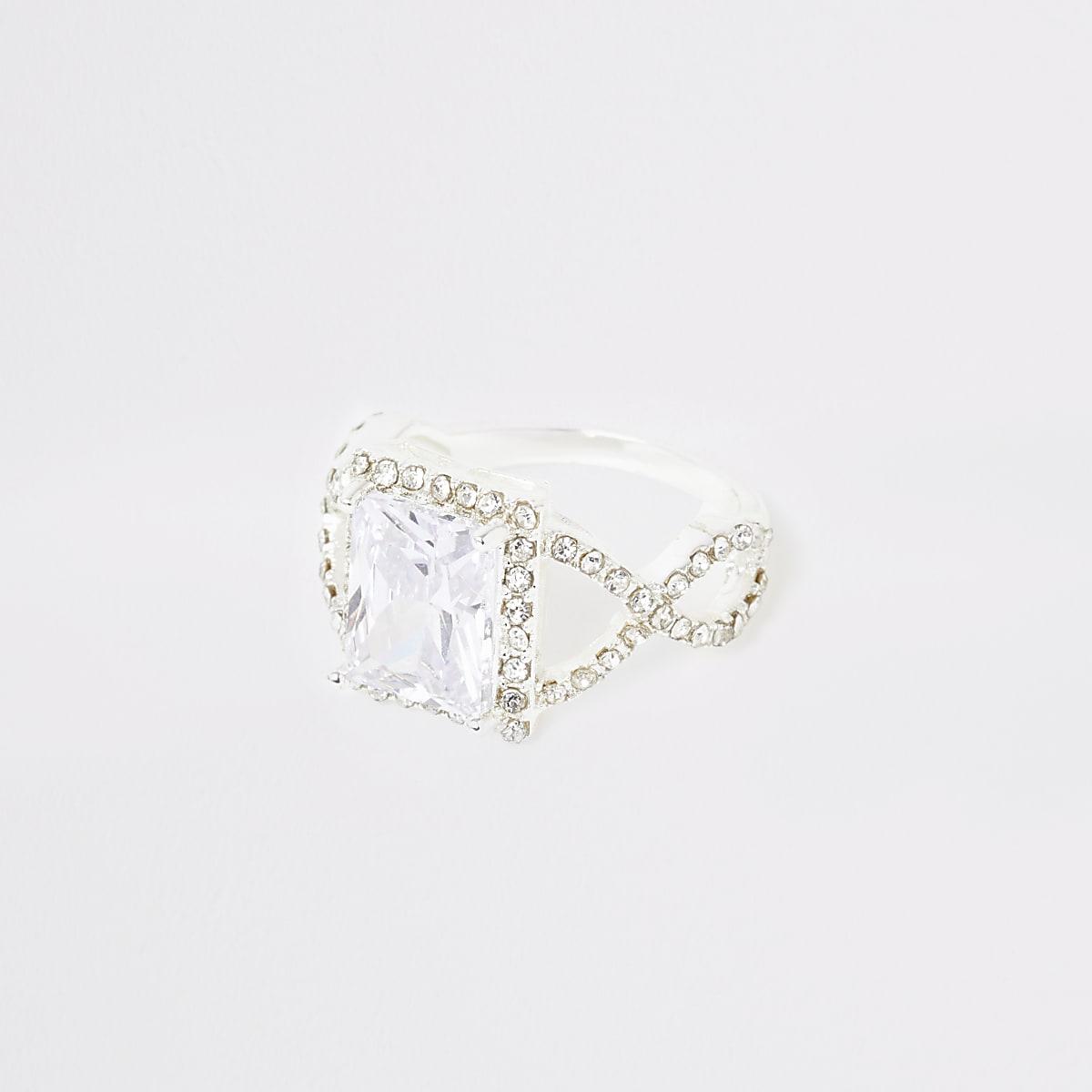 Silver colour square diamante pave ring