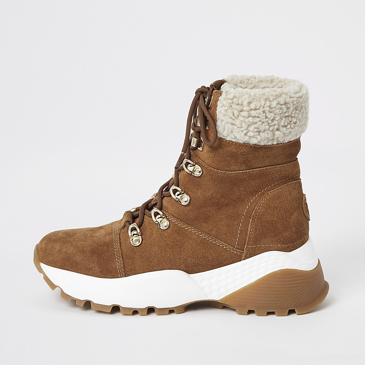 Brown suede lace-up borg trim hiker boots