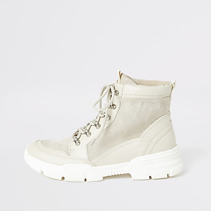 Cream lace-up boots