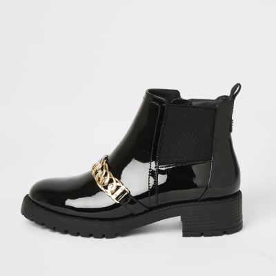 Black patent chunky chain ankle boots