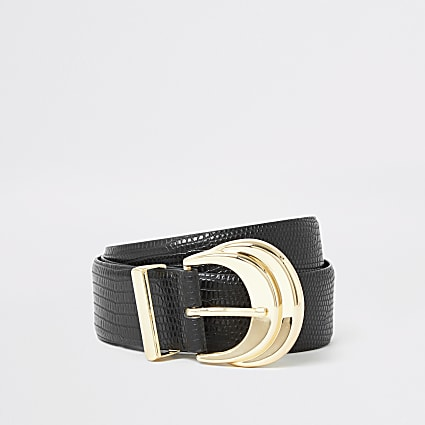 Black double layered buckle embossed belt