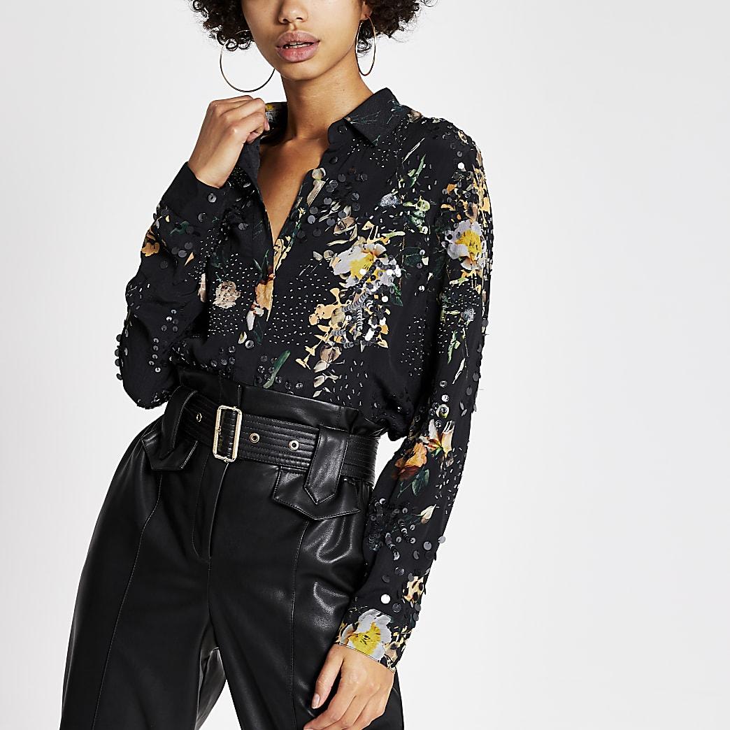 Black printed sequin embellished shirt